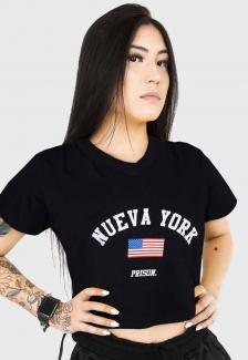 Cropped Prison Feminina Nueva York Preta