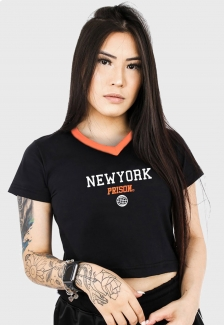 Camiseta Cropped Prison New York Orange Feminina