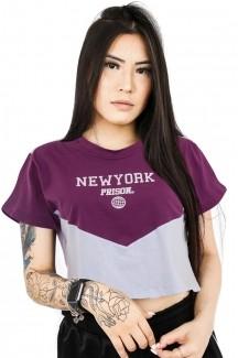 Camiseta Cropped Prison New York Sunset Purple Feminina