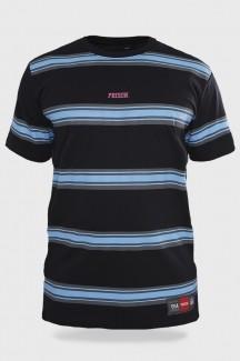 Camiseta Streetwear Prison Striped Retro Blue Wave