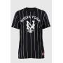 Camiseta Baseball listrada Prison Nueva York Preta