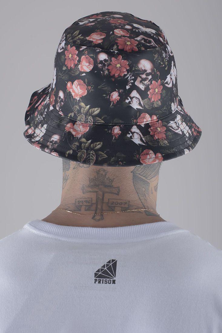 Bucket Hat Prison Floral Skull
