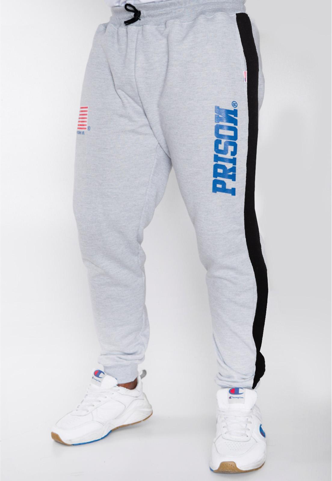 Calça Moletom Prison Streetwear Cinza USA