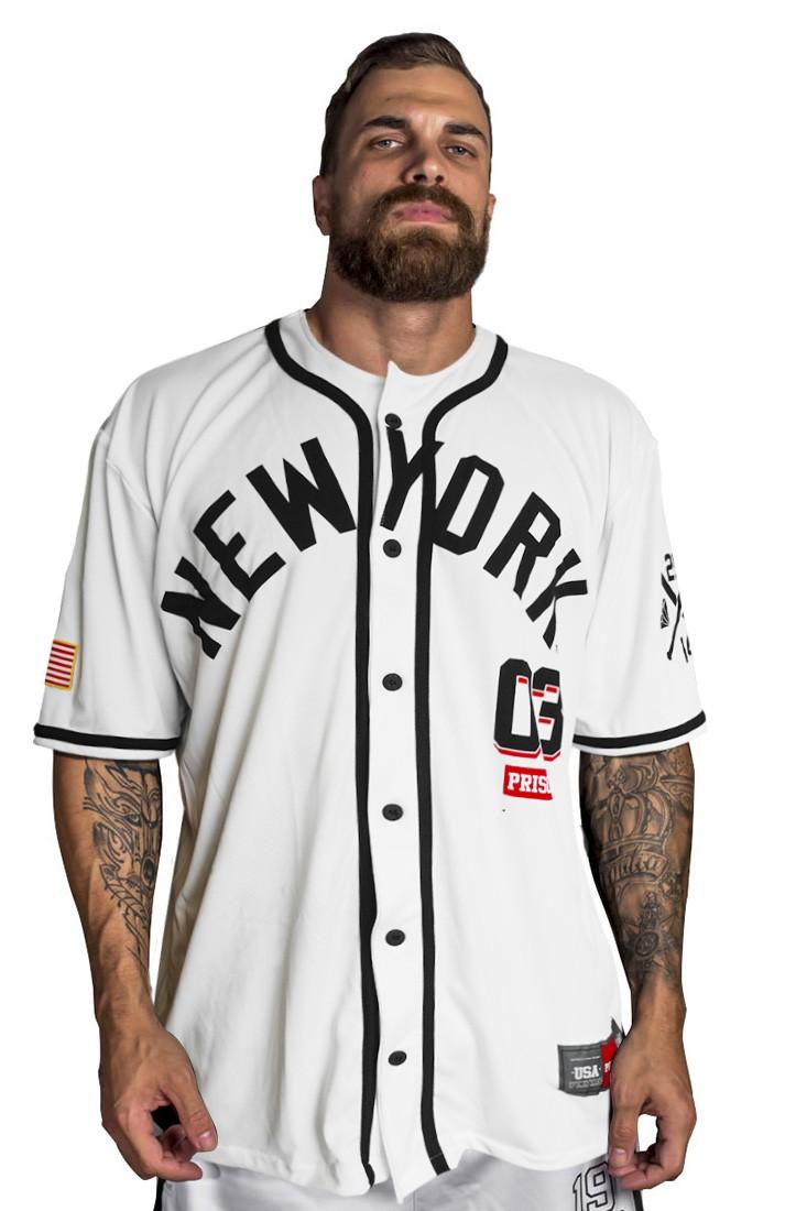 Camisa de Baseball New York Prison Branca
