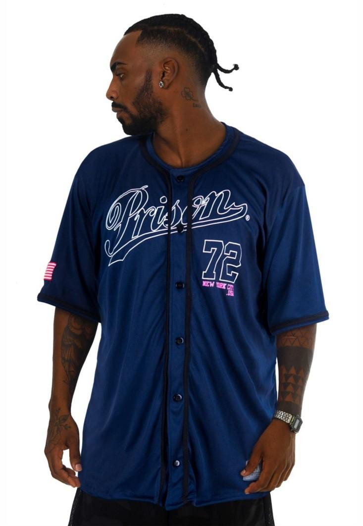 Camisa de Baseball Prison 72 Azul Marinho