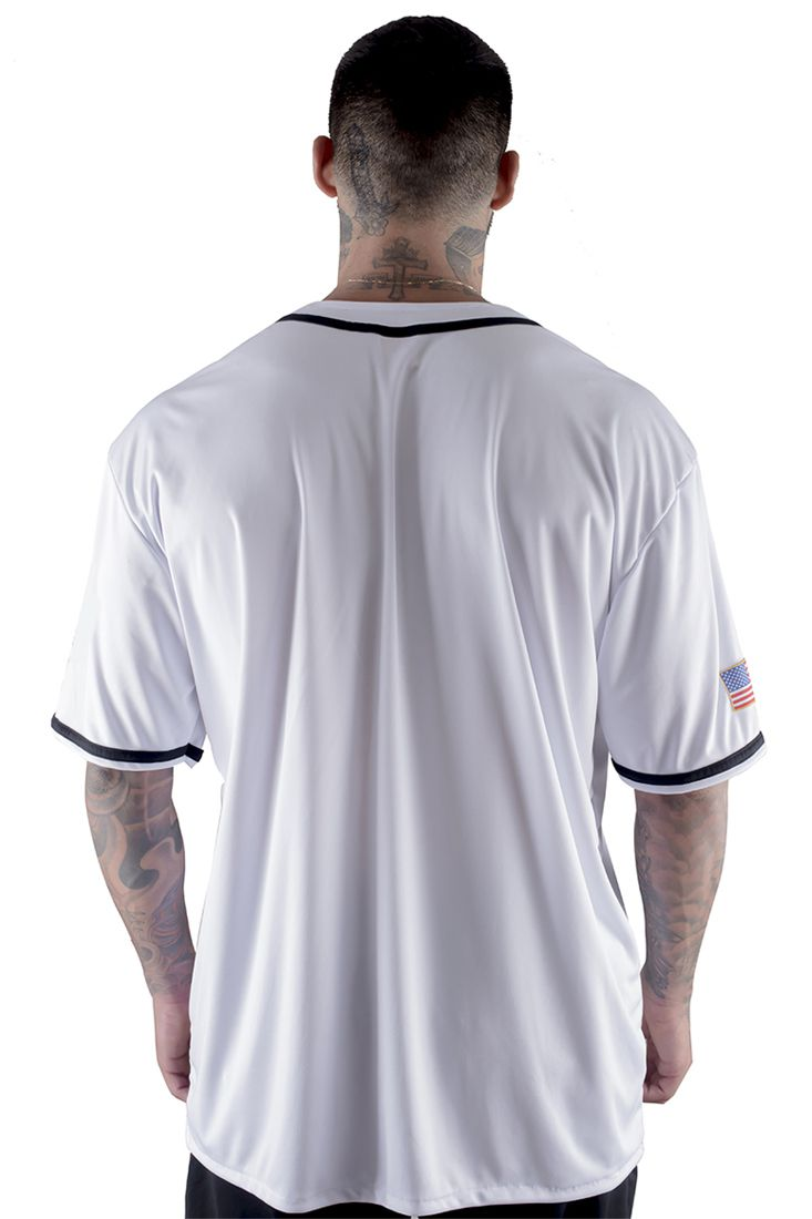 Camisa de Baseball Prison Americana Branca