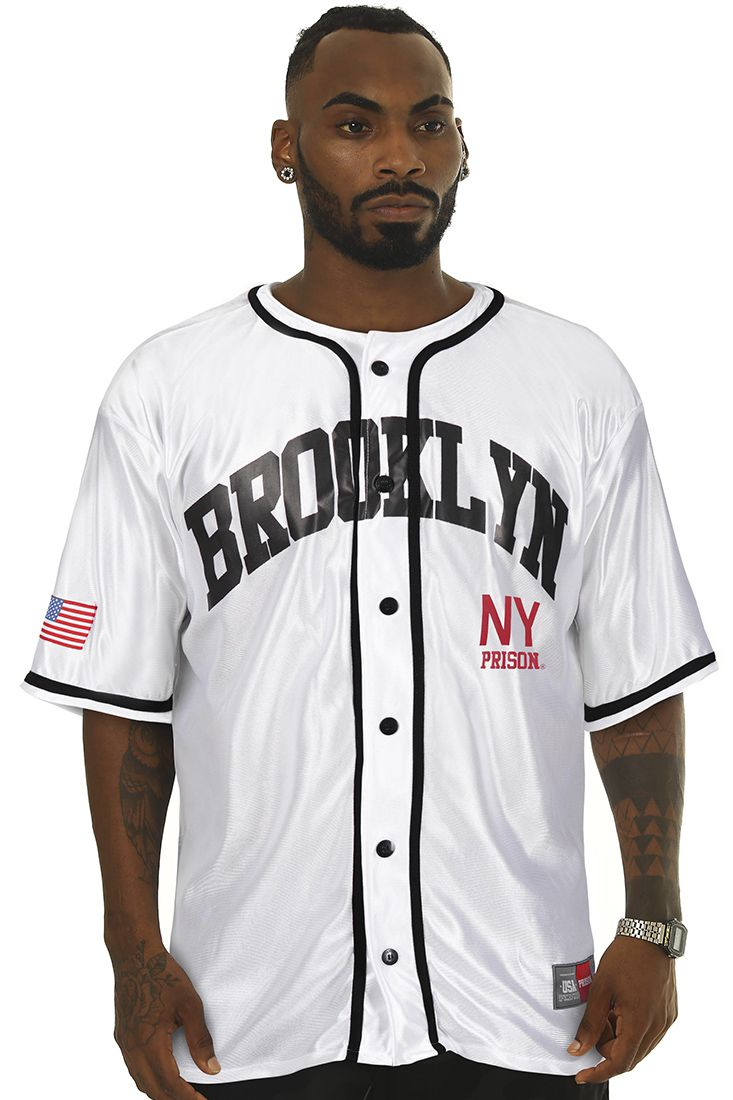 Camisa de Baseball Prison Bright Brooklyn Branca