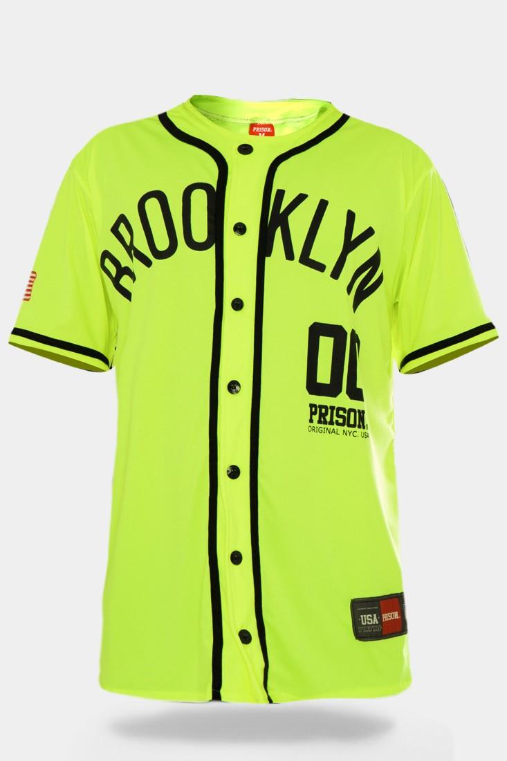 Camisa de Baseball Prison Brooklyn 00 Fluor Green