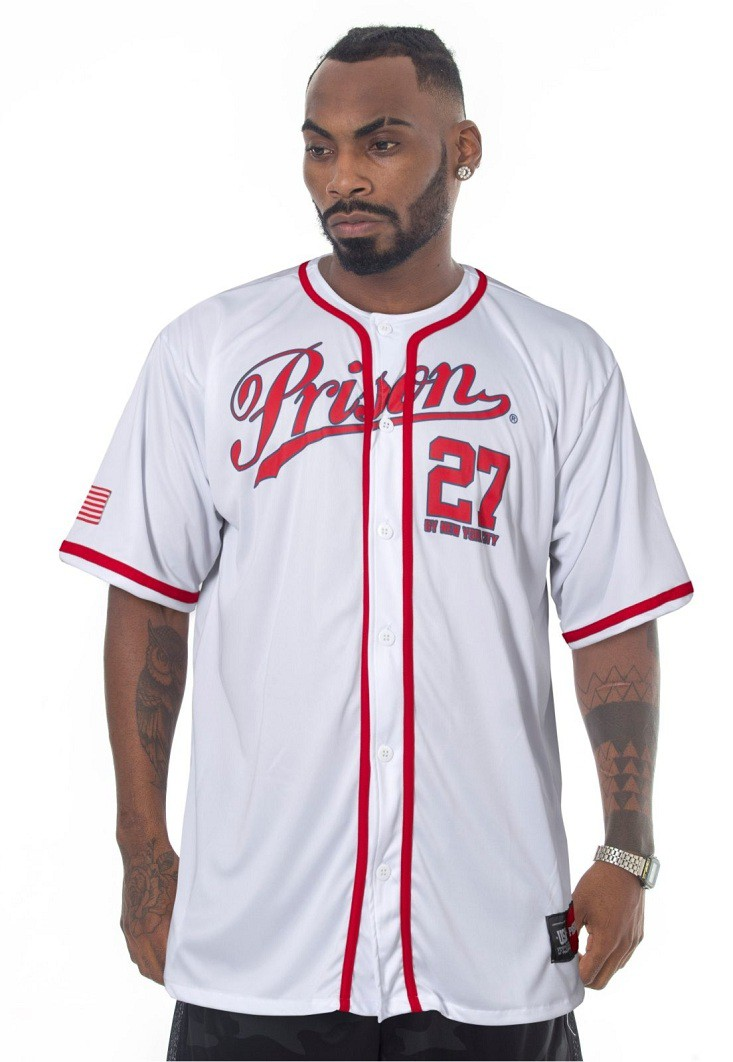 Camisa de Baseball Prison Brooklyn NY Branca