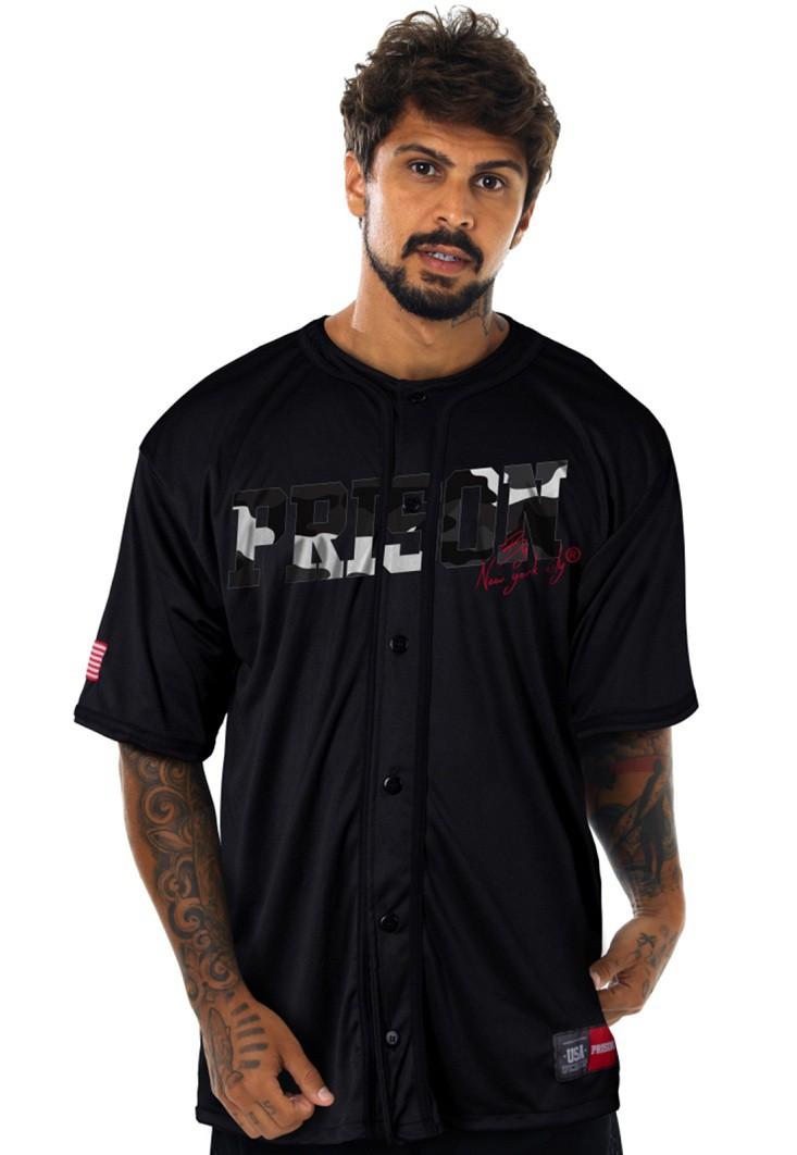 Camisa de Baseball Prison Camouflaged Preta