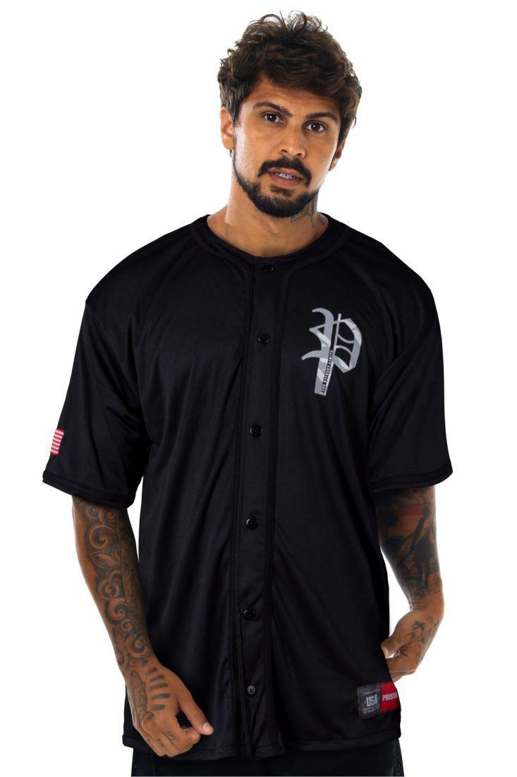 Camisa de Baseball Prison Camuflada Preta