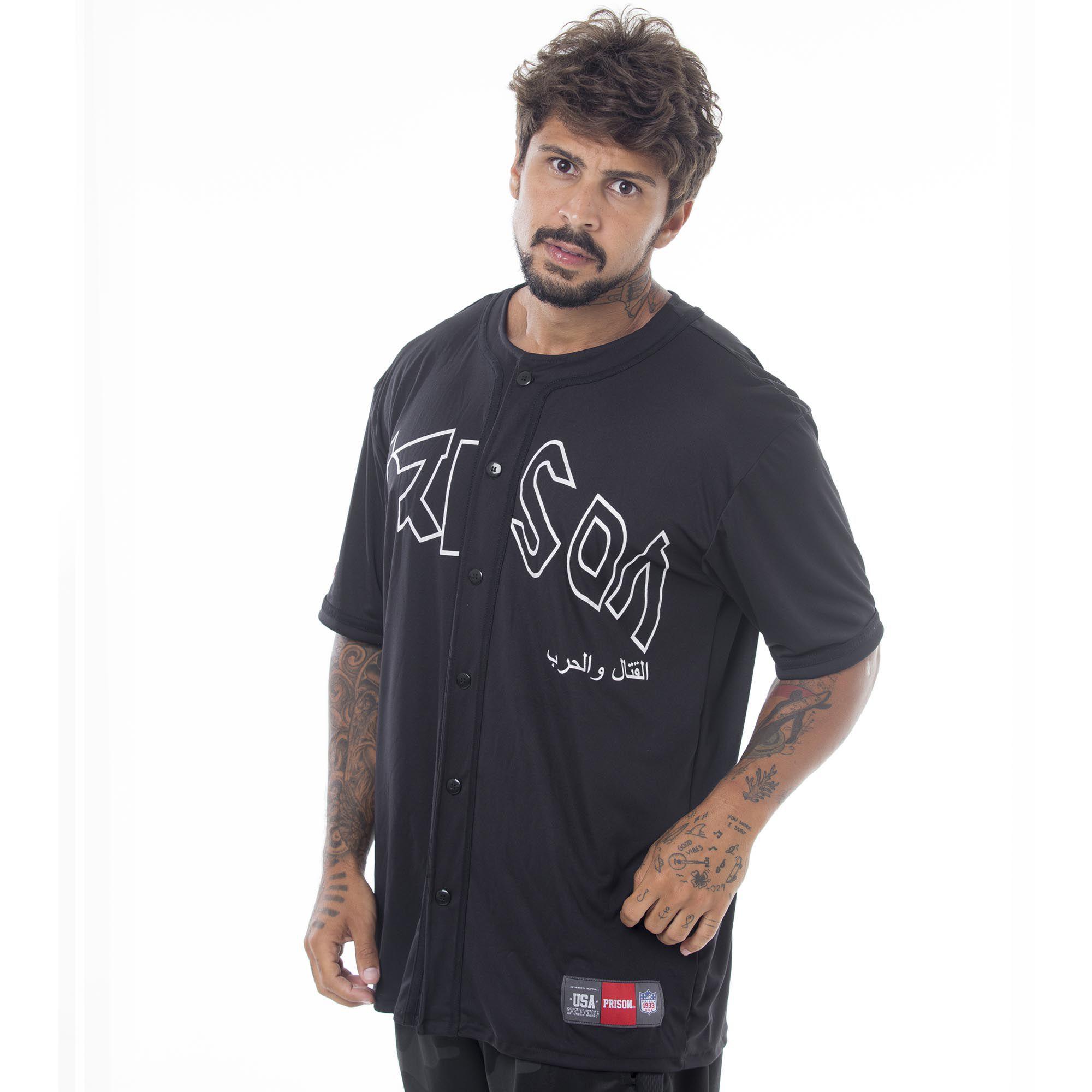 Camisa de Baseball Prison Discret Preta