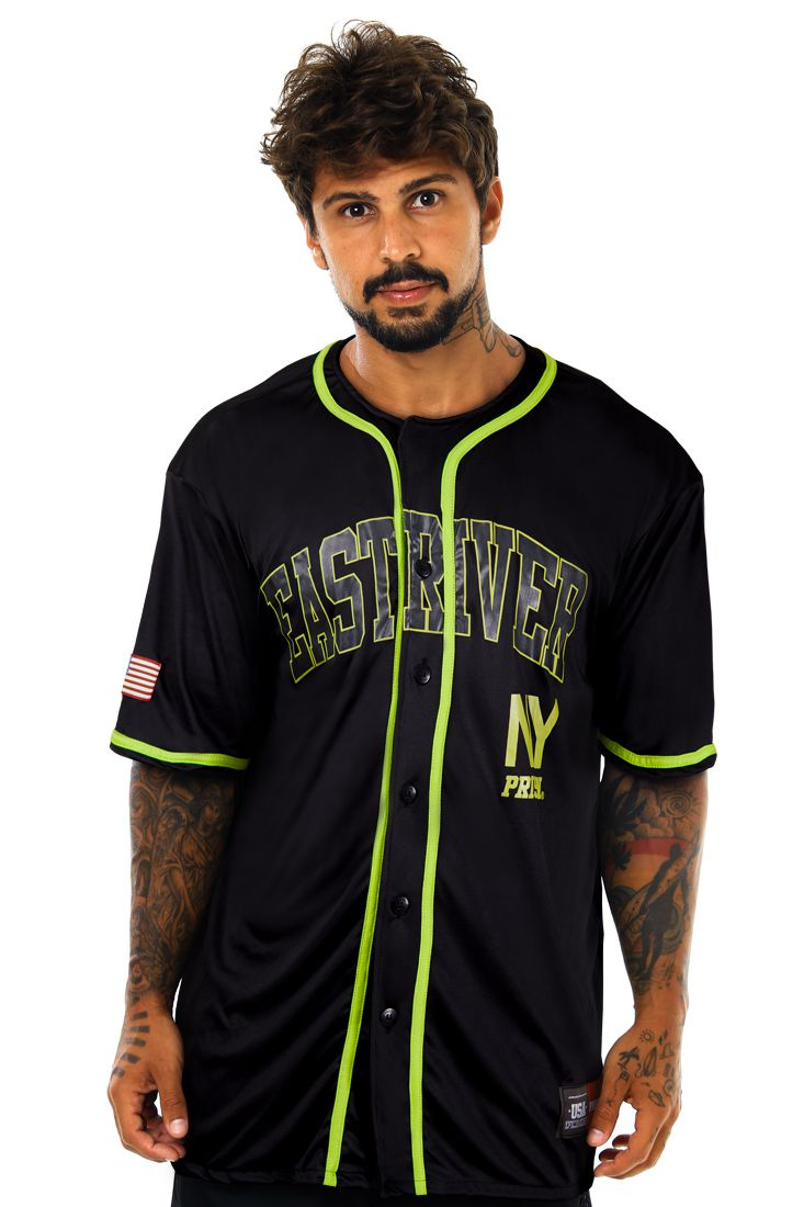 Camisa de Baseball Prison Green East River Preta