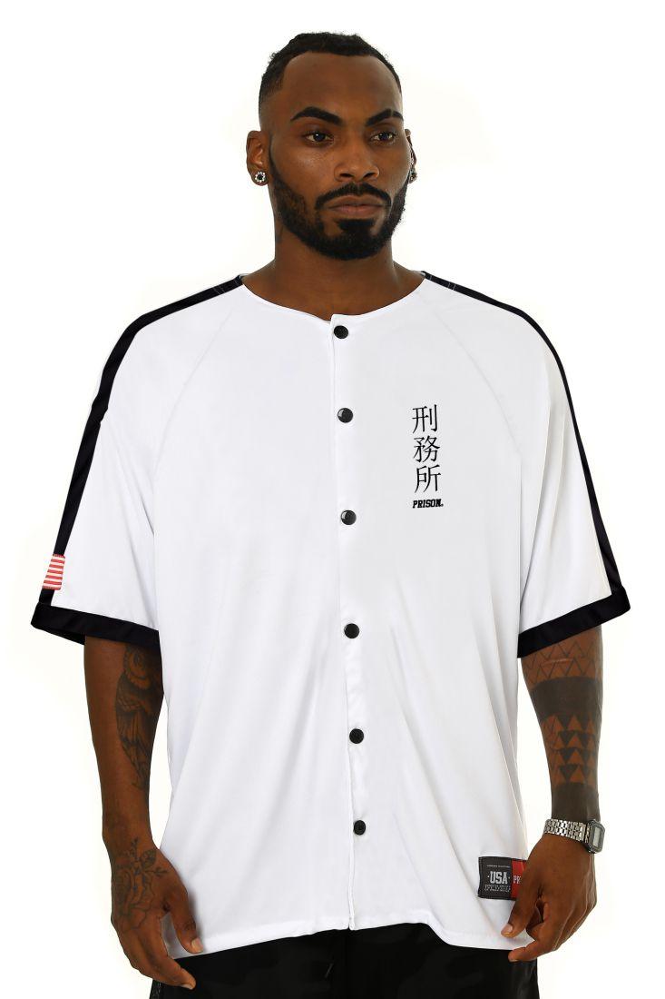Camisa de Baseball Prison Japan Branca