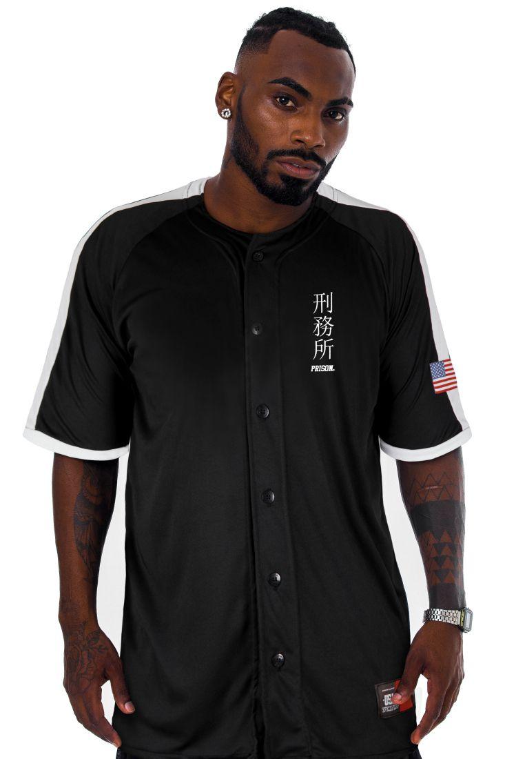 Camisa de Baseball Prison Japan Preta