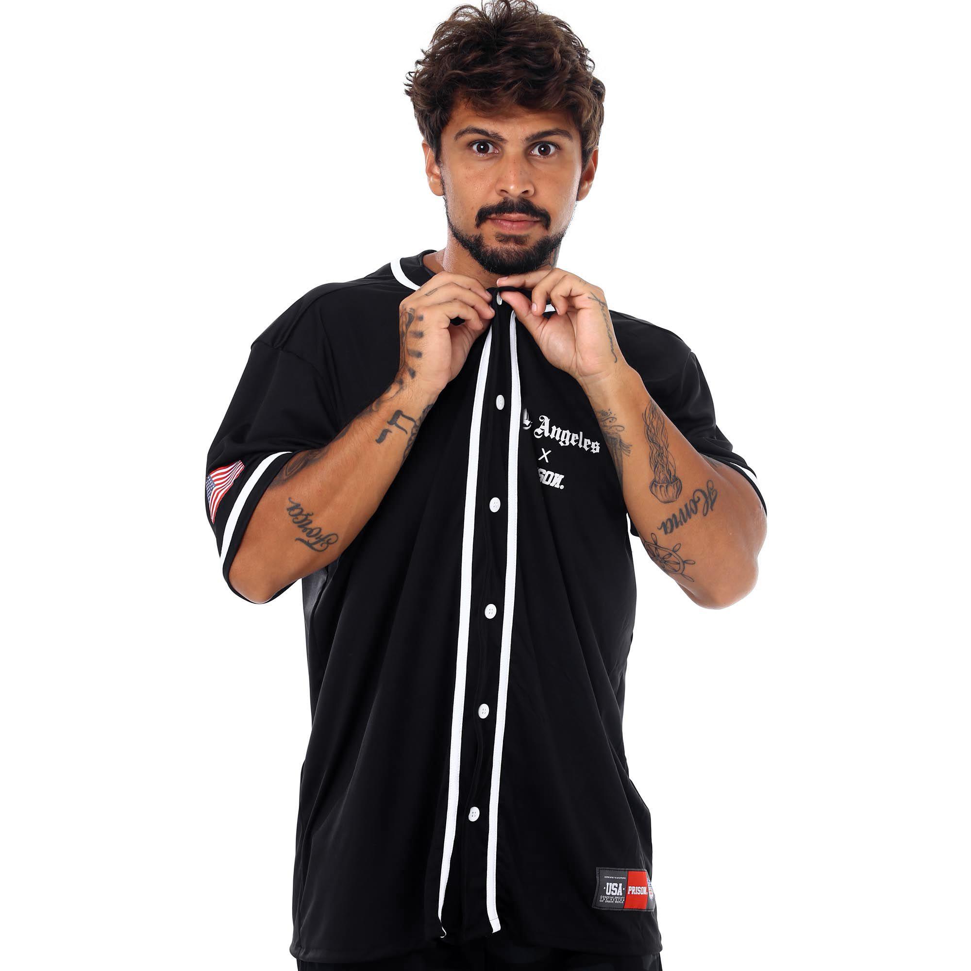 Camisa de Baseball Prison Los Angeles Preta