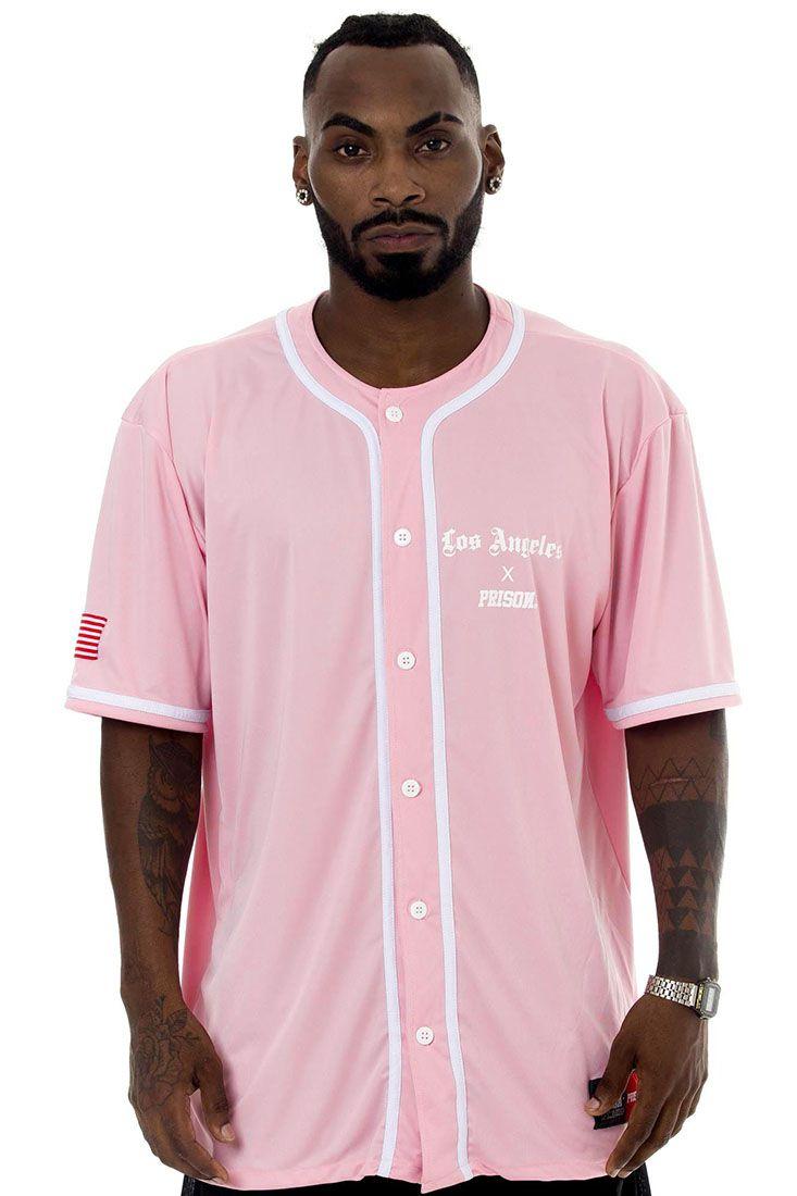 Camisa de Baseball Prison Los Angeles Rosa