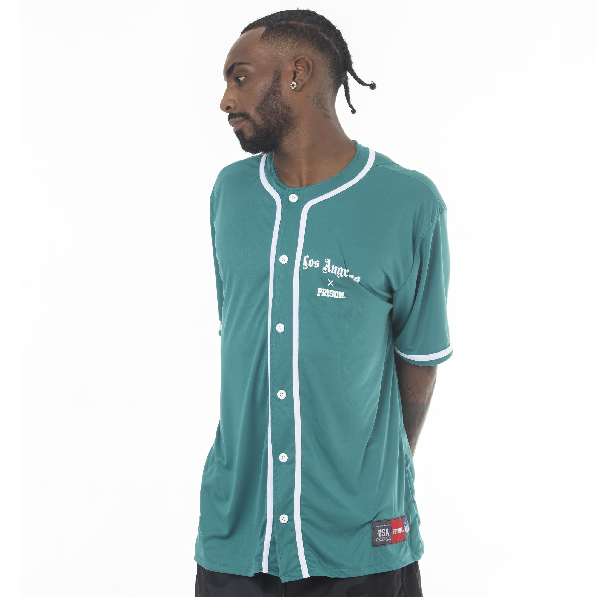 Camisa de Baseball Prison Los Angeles Verde