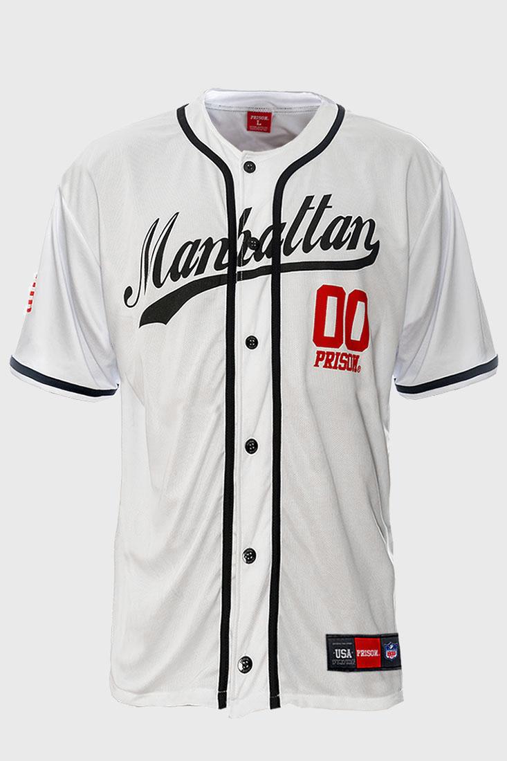 Camisa de Baseball Prison Manhattan 00 White