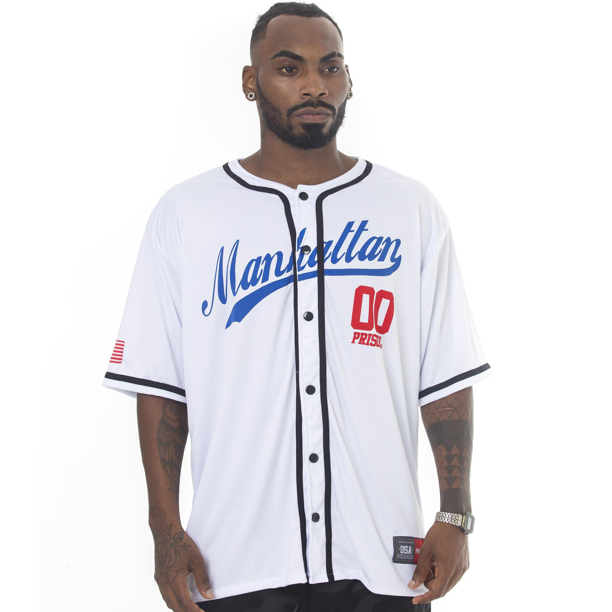 Camisa de Baseball Prison Manhattan Branca
