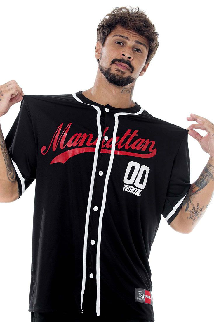 Camisa de Baseball Prison Manhattan Preta