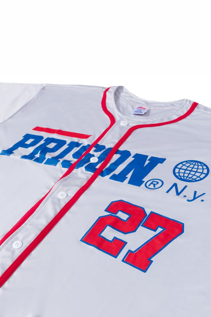 Camisa de Baseball Prison N.Y 27 Cinza