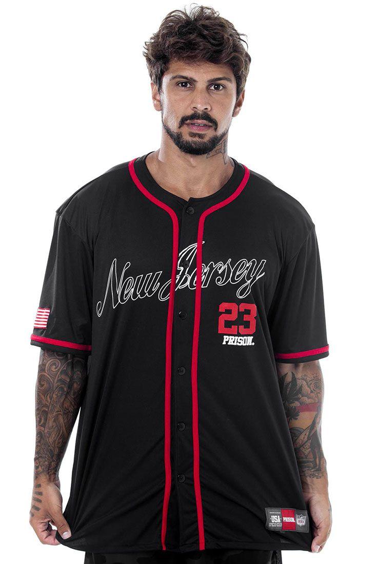 Camisa de Baseball Prison New Jersey Preta