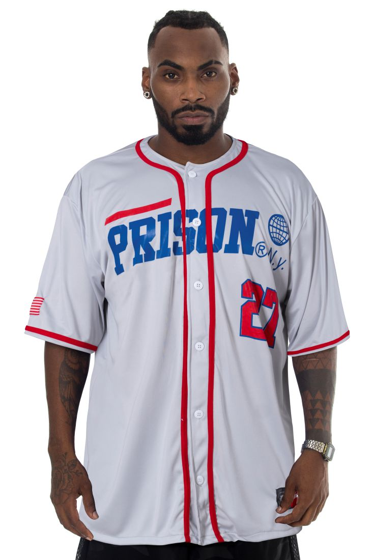 Camisa de Baseball Prison New York 27 Cinza