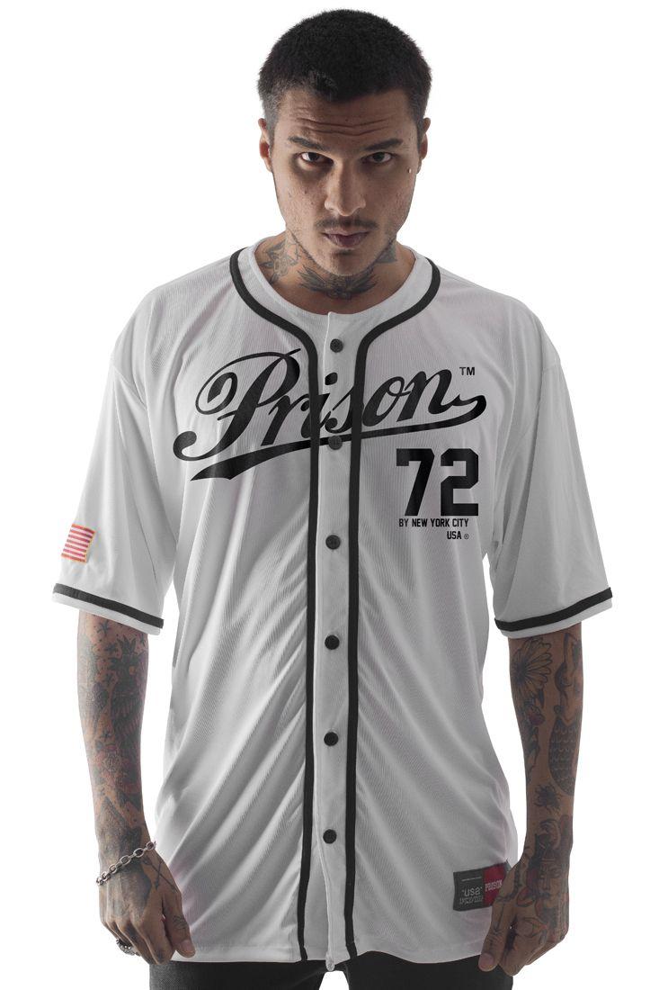 Camisa de Baseball Prison New York City 72 Branca