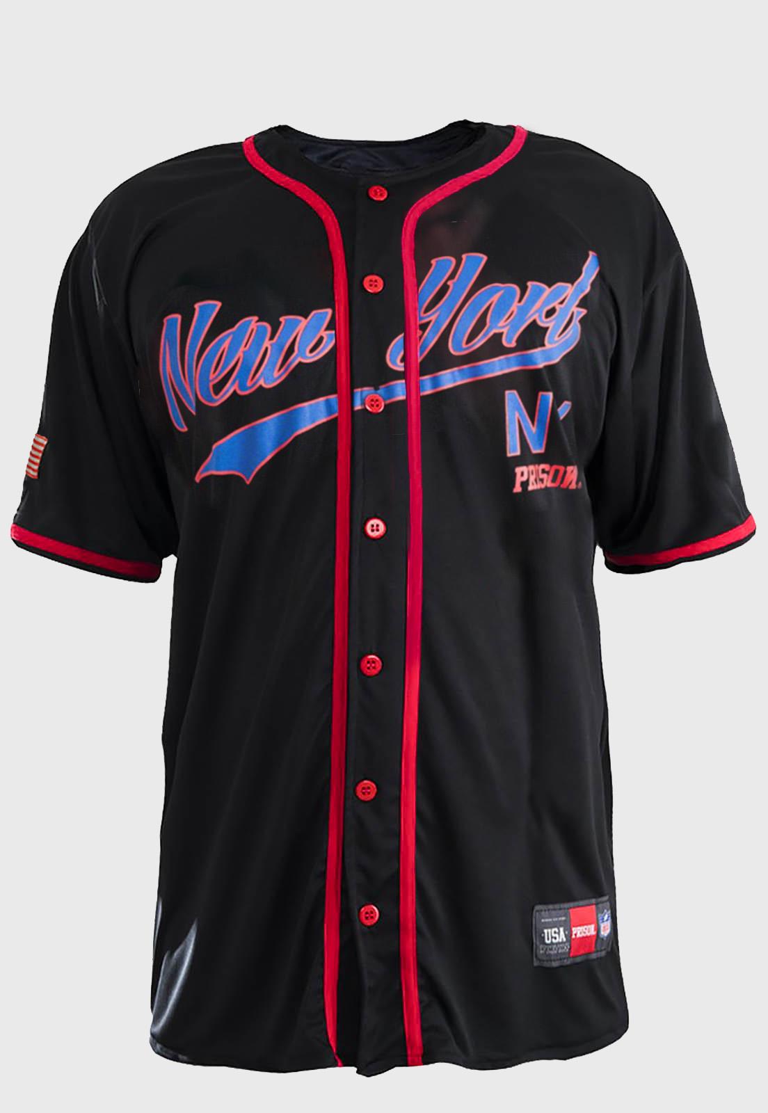 Camisa de Baseball Prison New York Red on Blue