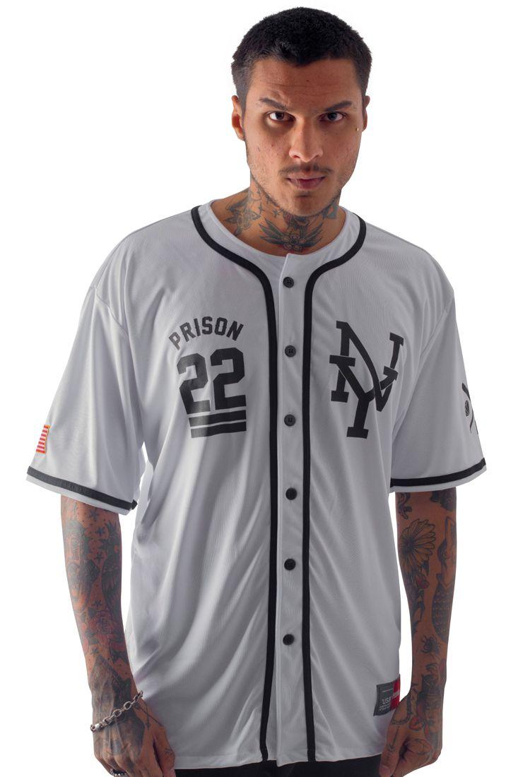 Camisa de Baseball Prison NY-22 Branca