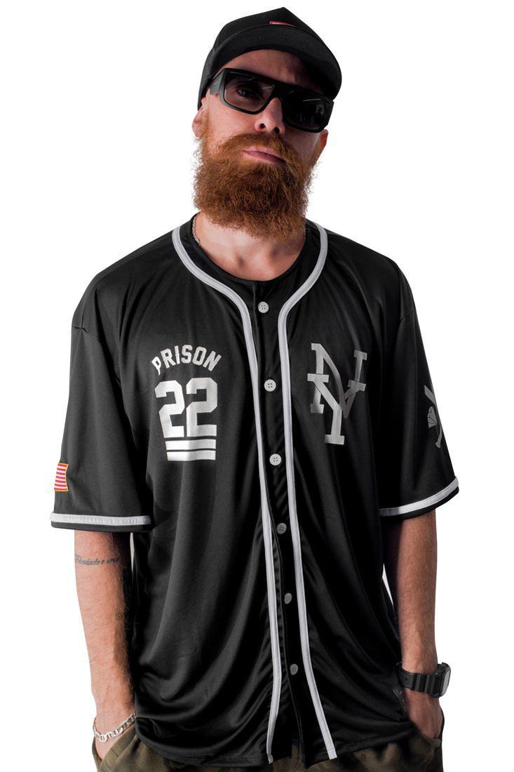 Camisa de Baseball Prison NY-22 Preta