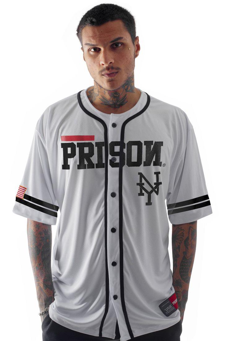 Camisa de Baseball Prison NY Red Stripe Branca