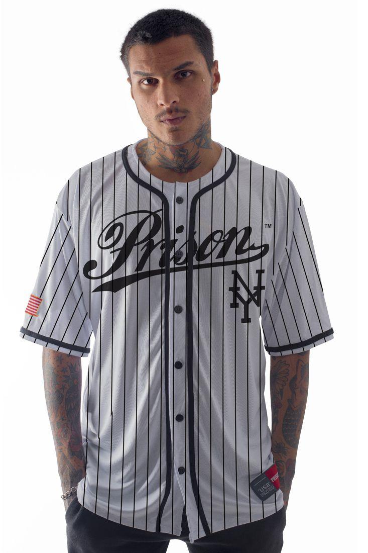 Camisa de Baseball Listrada Prison New York Branca