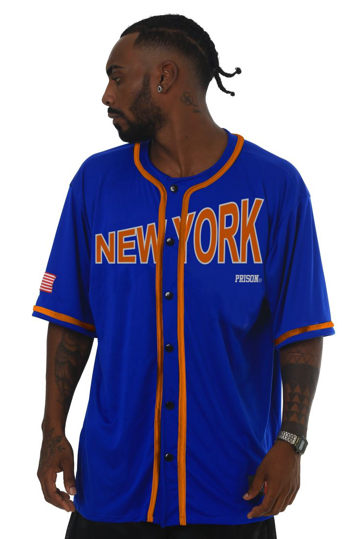 Camisa de Baseball Prison Orange New York Azul