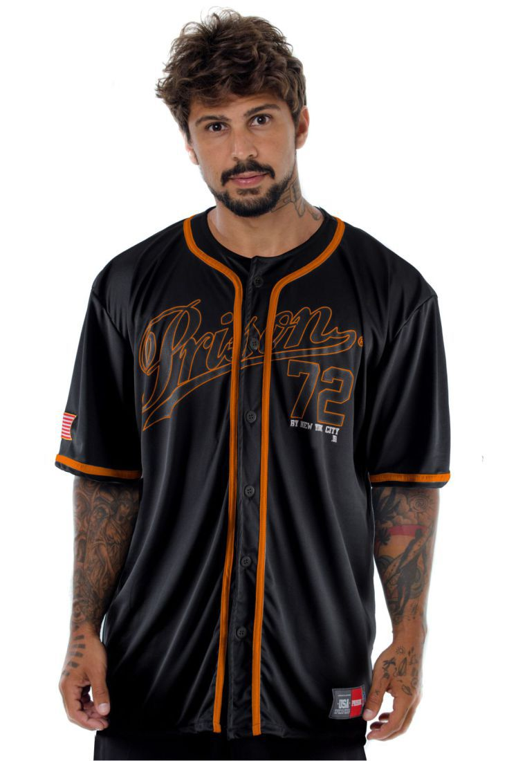 Camisa de Baseball Prison Orange NYC 72 Preta