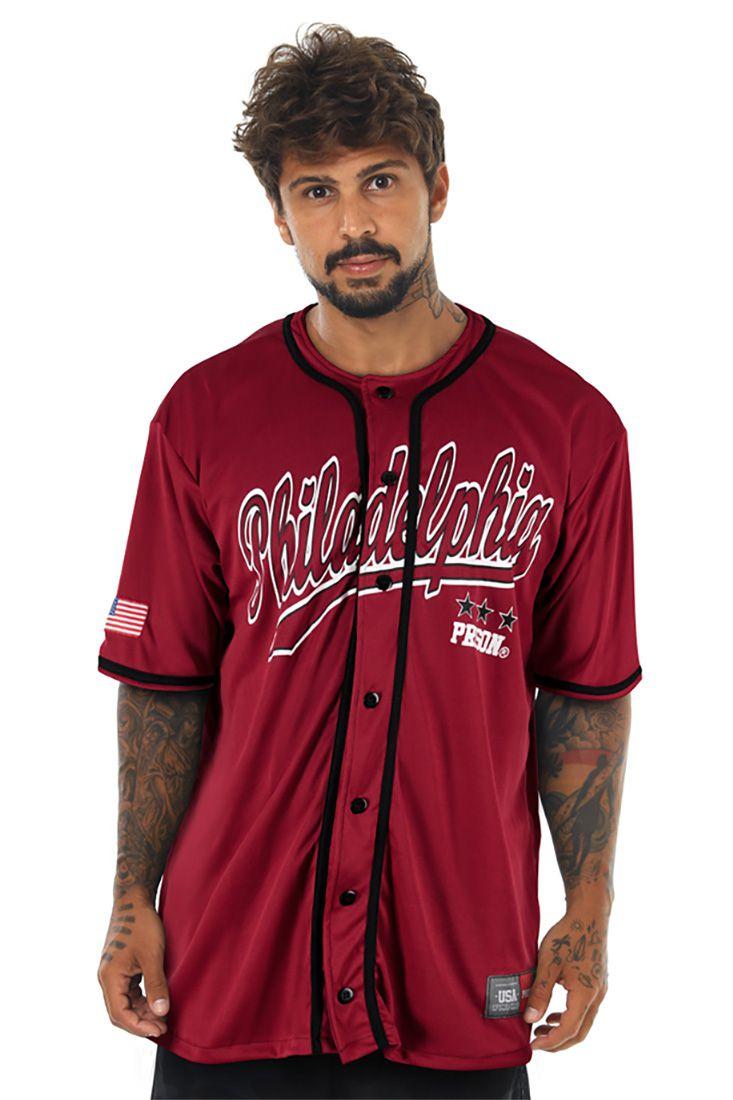 Camisa de Baseball Prison Philadelphia Vinho