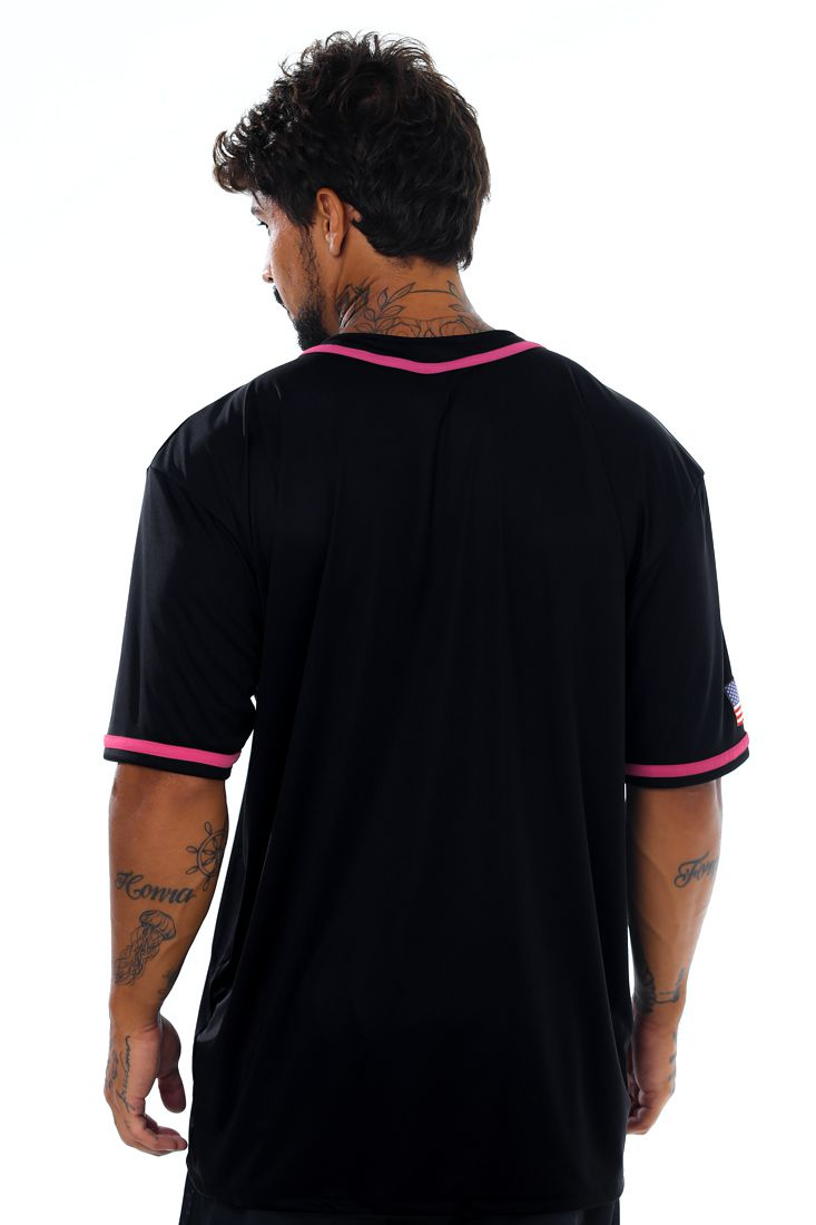 Camisa de Baseball Prison Pink Details Preta