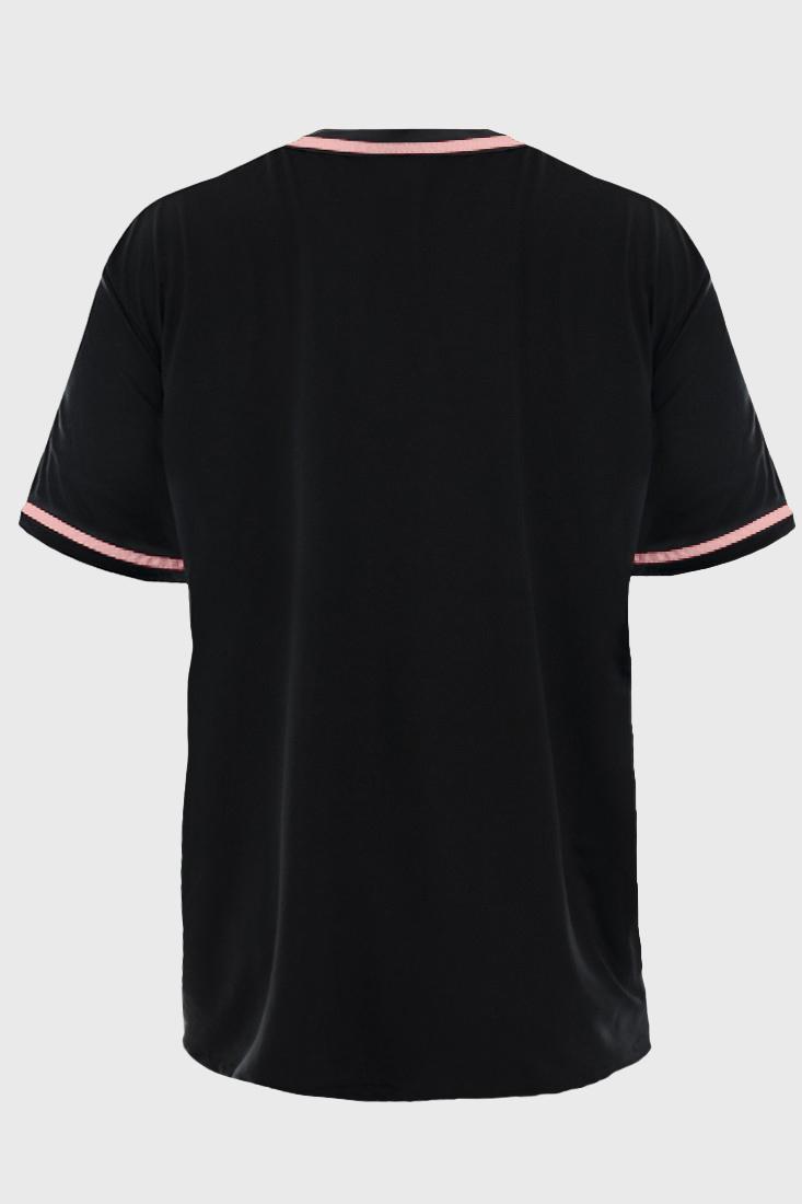 Camisa de Baseball Prison Preta e Logo Rosa