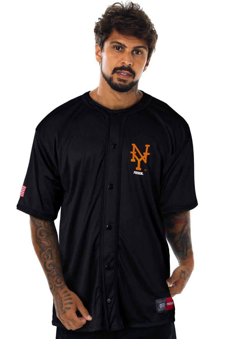 Camisa de Baseball Prison Preta Orange NY
