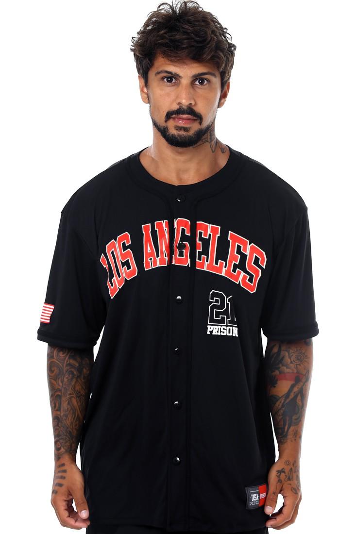 Camisa de Baseball Prison Red Los Angeles