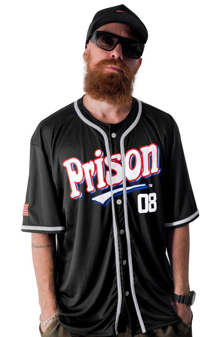 Camisa de Baseball Prison Street 08 Preta
