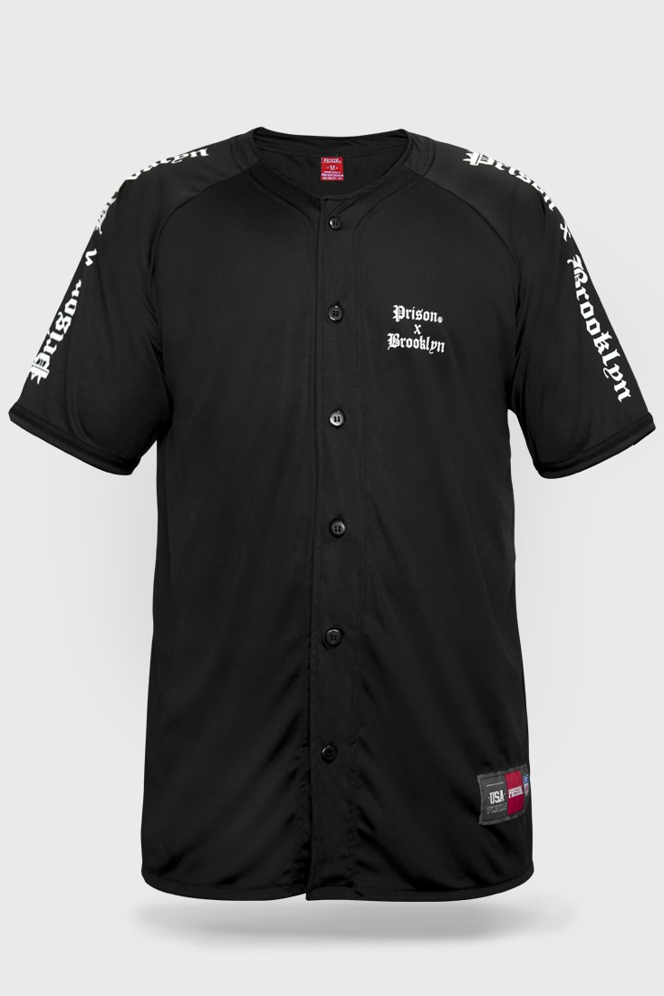 Camisa de Baseball Prison Streetwear Brooklyn Raglan Preta