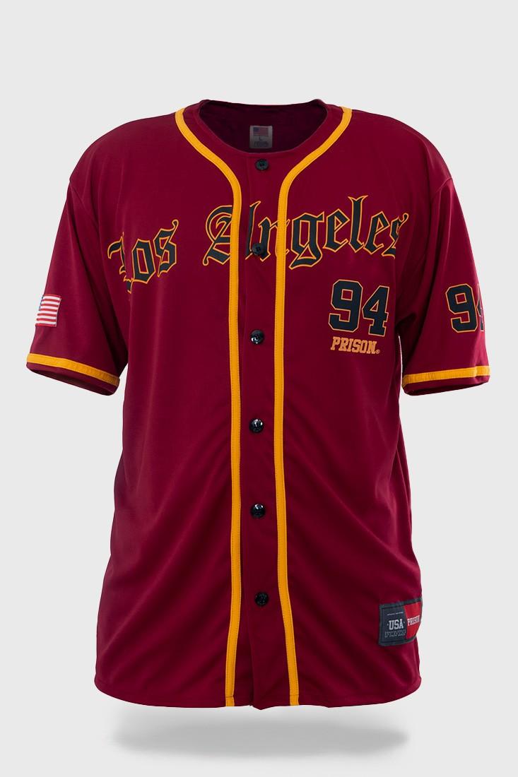 Camisa de Baseball Prison Streetwear Los Angeles Vinho