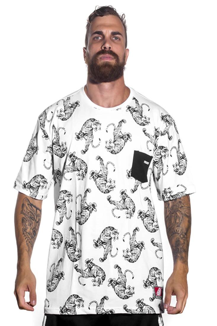 Camiseta de bolso Gangster Tigre Prison Branca