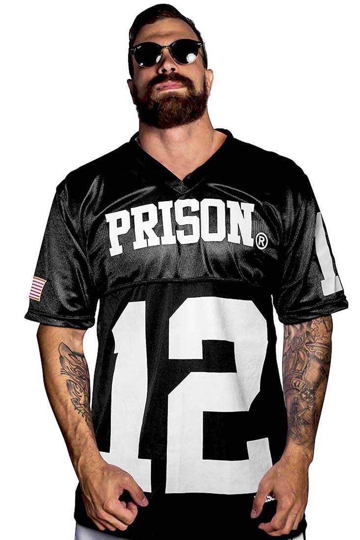 Camisa Futebol americano Patriots Prison Preta