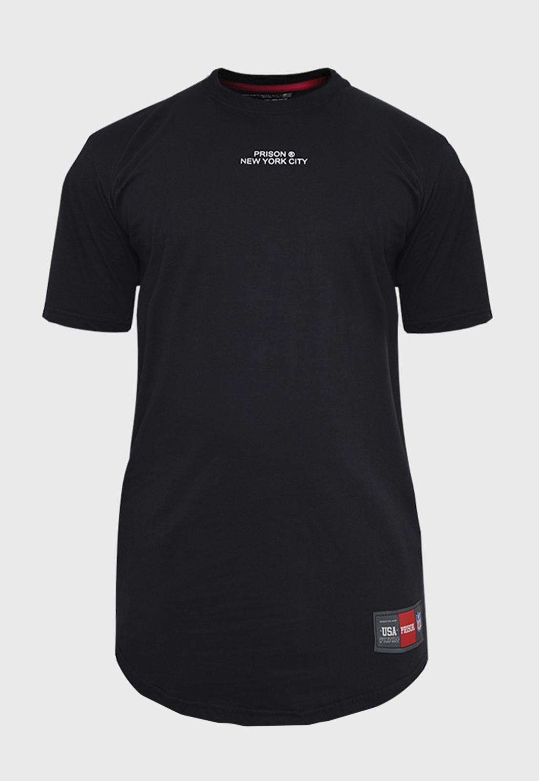 Camiseta Longline Preta New York Prison