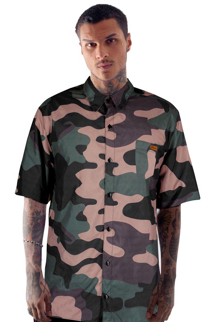 Camisa Social Prison Camuflada Manga Curta