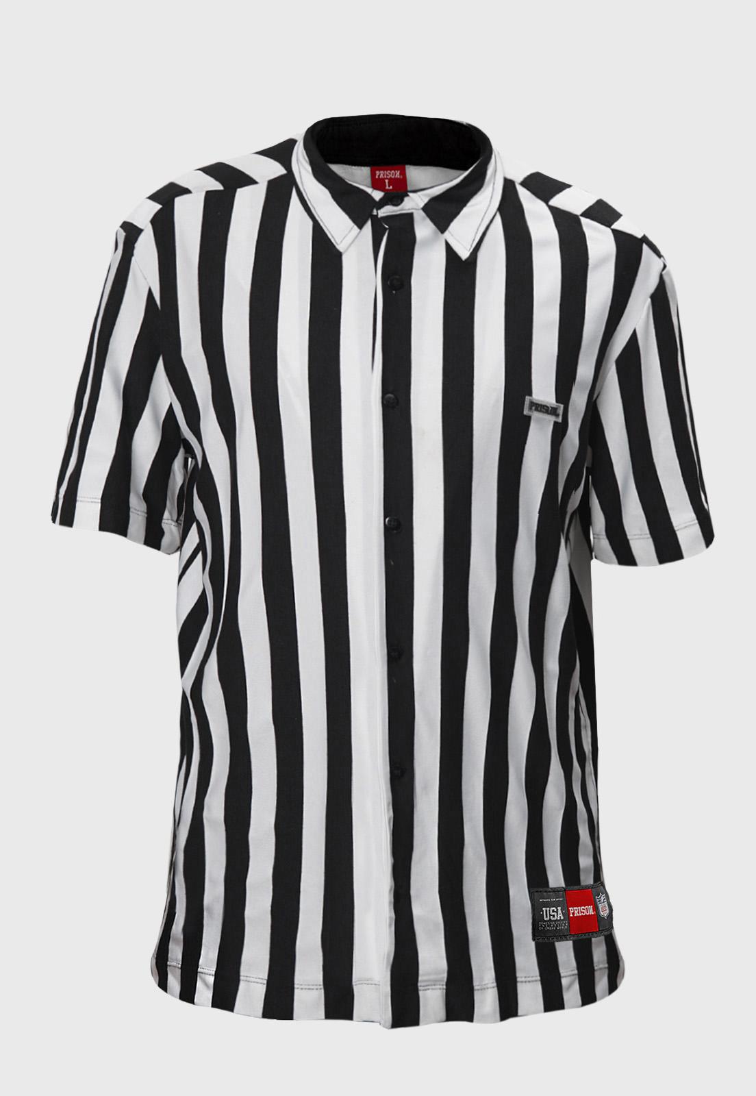 Camisa social Prison listrado Black and White
