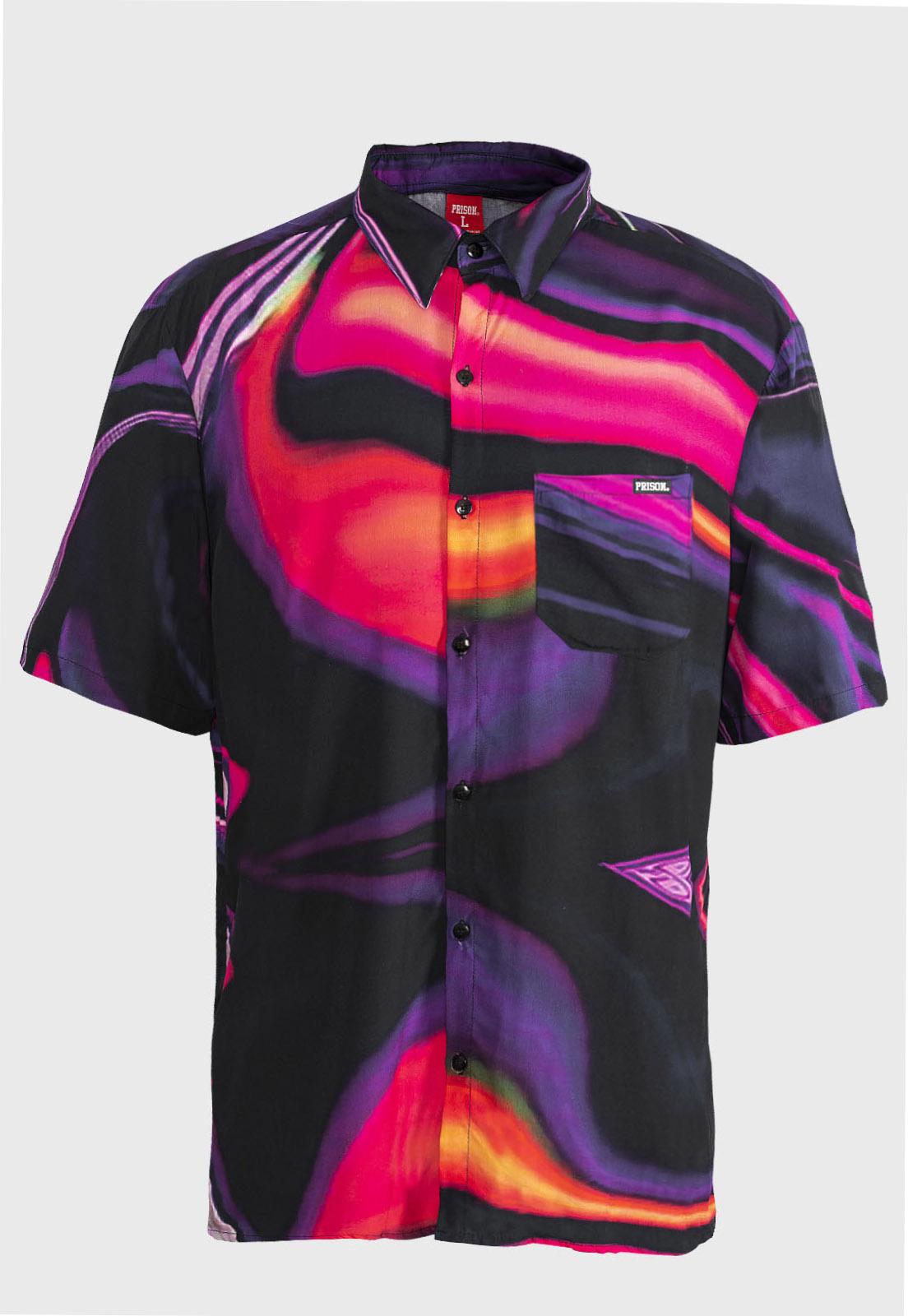 Camisa social Prison tie-dye  Lilás